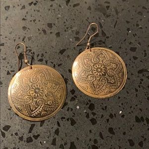 Mandala, round, brass earrings.
